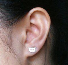 cat earring studs - Etsy