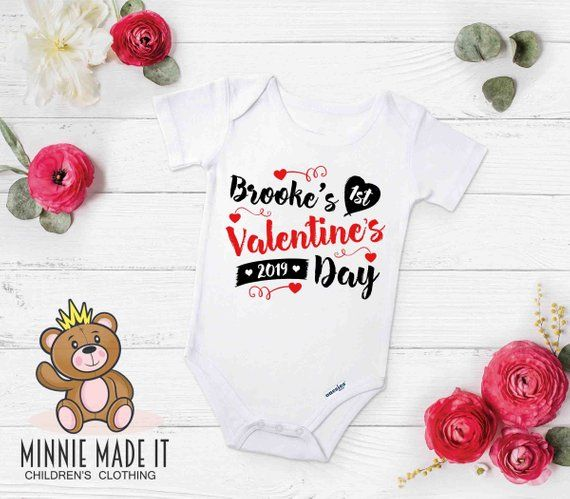 Personalised First Valentines Day Baby Pyjamas Babygrow Baby Gifts Custom Bear