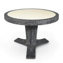 Middlefork Center Table - Table of plantation hardwood/leatherette top
