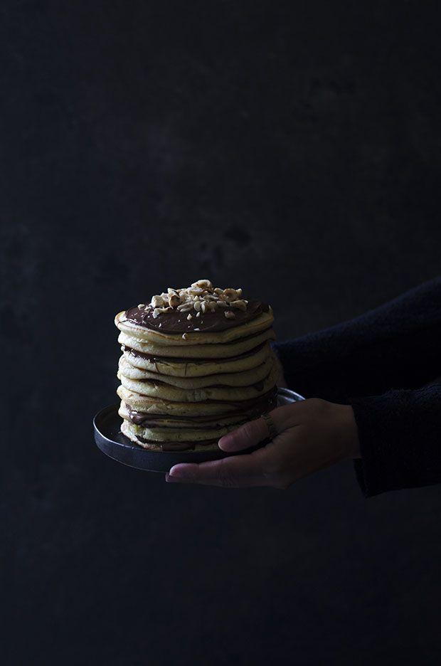 Nutella Pancake Cake with Salted Caramel Sauce