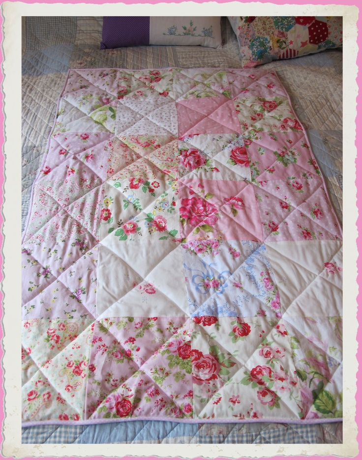 Baby girls pink patchwork cot quilt ~ with Cath Kidston fabrics, and lots of Roses