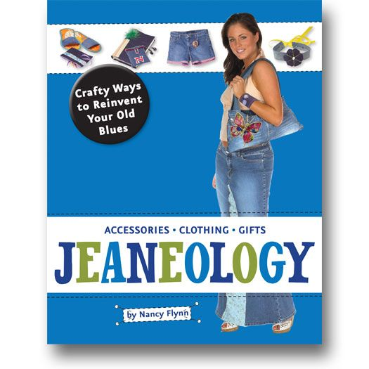 JEANeology: Crafty Ways to Reinvent Your Old Blues by Nancy Flynn features innovative sewing projects and fun jean trivia! #jeans #jeaneology