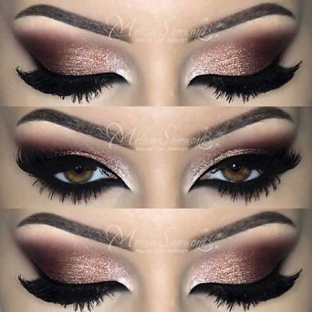 Smokey eye - Pink Glitter into dark brown on the outer eye with taupe on the brown bone and in the corner with thick black liner and full lashes #makeup...x