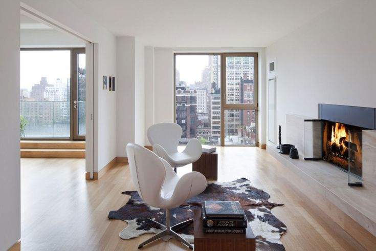 Swan Chairs at fireside.John Pawson, White Spaces, New York Cities, Gramercy Parks, Living Room, Dreams House, Cowhide Rugs, Fireplaces Room, Penthouses Duplex
