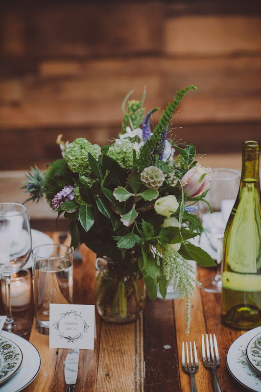greenery-based centerpieces // photo by Chellise Michael, flowers by Sprout Home // http://ruffledblog.com/elegant-brooklyn-winery-wedding