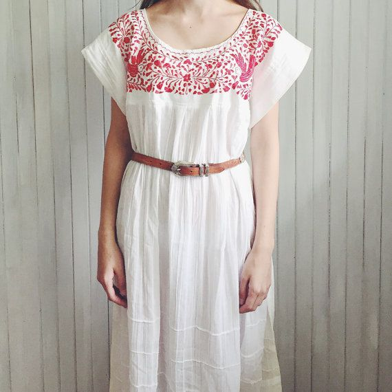 Red Stitch Oaxacan Light Cotton Festival Dress by MoonInLeoShop   Mexican Dress / Hippie / Bohemian /Festival style/ Eclectic / Free Spirit / Boho Style