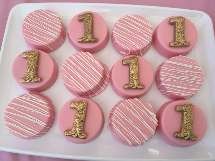 Chocolate covered Oreos -pink and gold theme for 1st bday available from unikscrapcreations via Etsy or Instagram