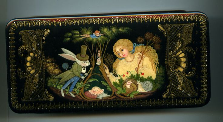 """Russian Lacquer Box Style Palekh """"Alice in Wonderland"""" Hand Painted 