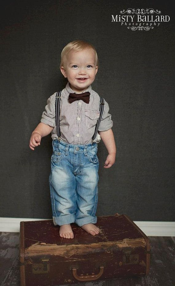 Striped Suspenders & Bow Tie. LOVE.   Etsy listing at http://www.etsy.com/listing/120901566/boy-bow-tie-suspenders-set-brown-bow-tie