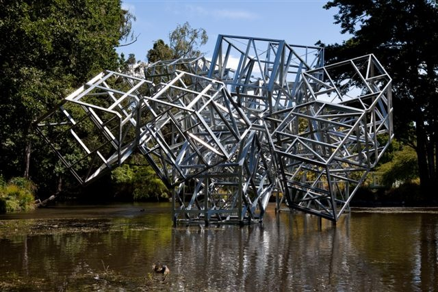 Muegano, Hector Zamora, 2010-2012, Commissioned by SCAPE Public Art, Kiosk Lake, Christchurch Botanic Gardens. Photo: Bridgit Anderson. Steel supplied by New Zealand Steel.