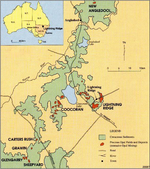 "Map of Lightning Ridge Opal Fields from the brochure ""Opals in NSW"" by the dept of Mineral Resources  - NSW"