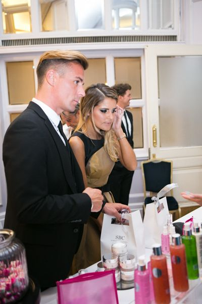 Emmerdales Gemma Oaten checks out the fabulous products on the SBC gels stand at the TV Choice Awards Gifting Lounge