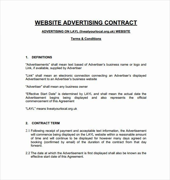 Simple Advertising Contract Template In 2020 Contract Template