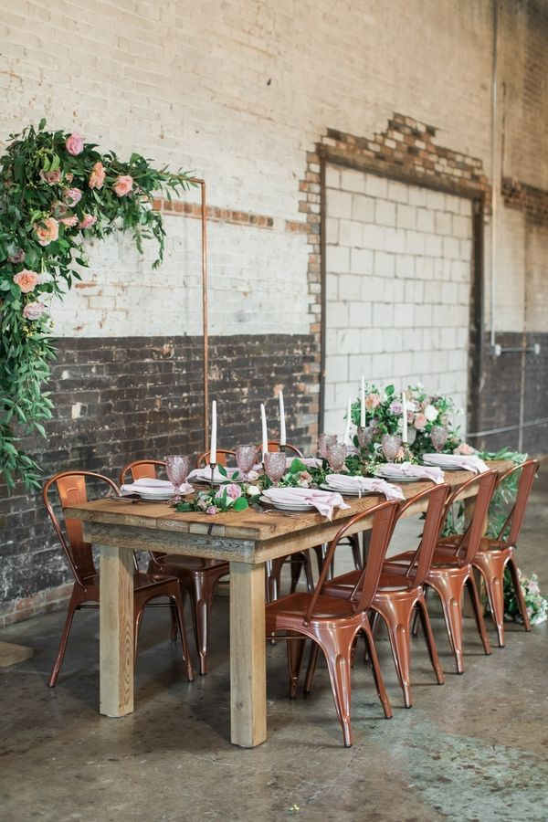 modern industrial meets rose gold romance wedding inspiration rh pinterest com