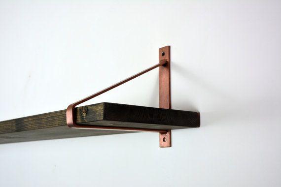 Paar koperen stalen haakjes - nieuwste ontwerp haken - plank haakjes - koperen haken - stalen beugels - unieke haken