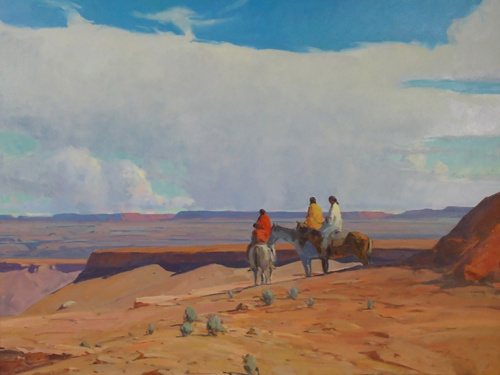 "G. Russell Case painted this oil on canvas called ""Distant Horizons"". Born in Brigham City, Utah, Russell Case was encouraged by his father, Garry Case, who was an illustrator for the Bureau of Indian Affairs."