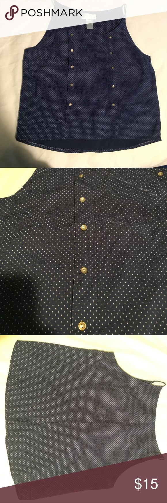 """Corey Lynn Calter cropped boxy polka dot tank M EUC strappy navy, polka dotted hi-low tank size Medium. Chest 19 across. Length 20"""" in the fron, 21.5"""" in the back. Tank is lined. Anthropologie Tops Tank Tops"""