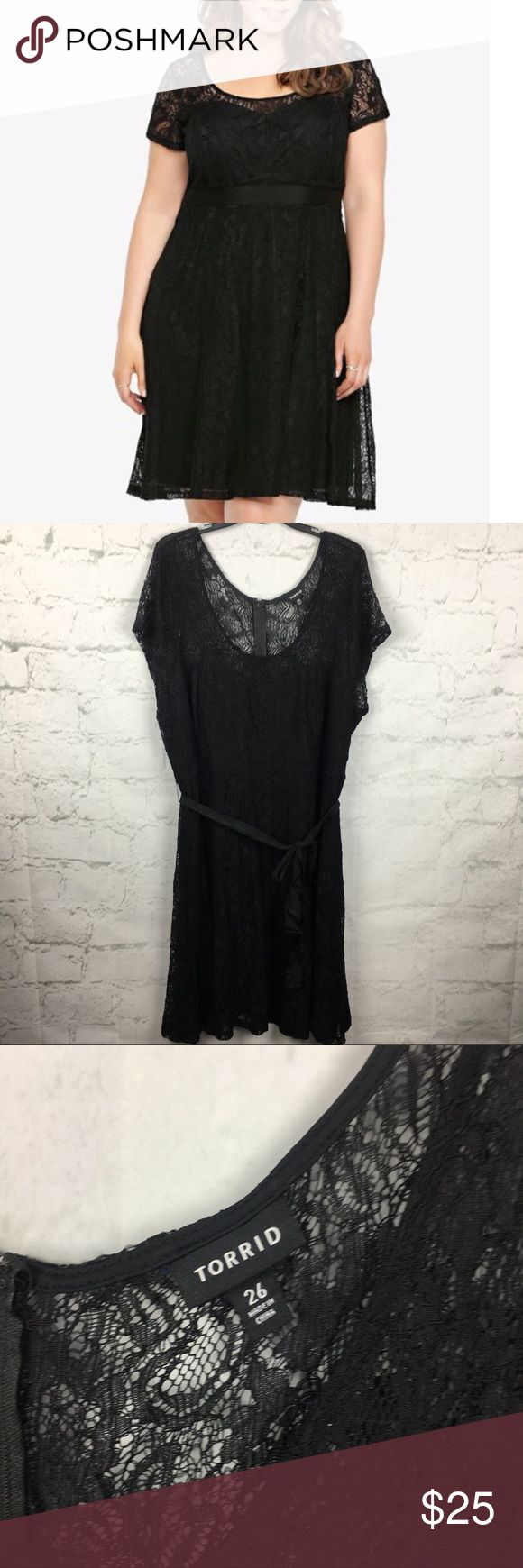 "Torrid Black Lace Overlay dress w tie bow sz 26 Little black dress perfect for all occasions. Size 26. 25"" armpit to armpit laying flat. Length- 44"". 55% nylon, 45% rayon. Gently used with no flaws torrid Dresses"