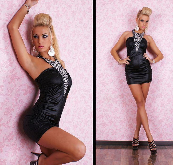 Sexy Mini Kleid Leder Wet Look Strass Black