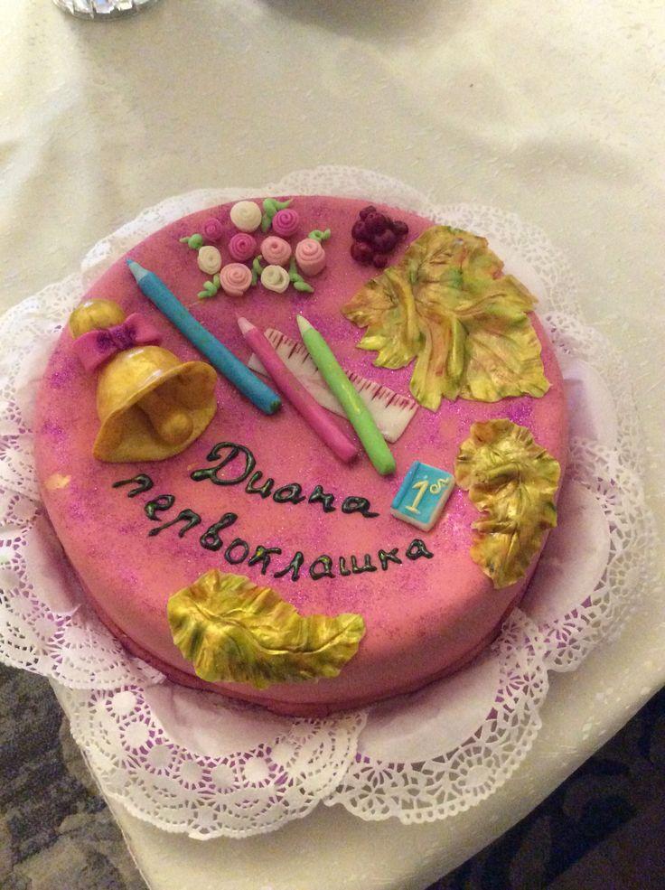 Торт с мастикой на 1ое сентября