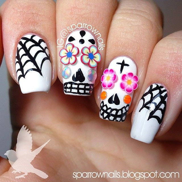 White Halloween, Holiday, Spiderwebs, Sugar Skulls, Day of the Dead, Free Hand Nail Art, Fimo Clay Flowers, crystals