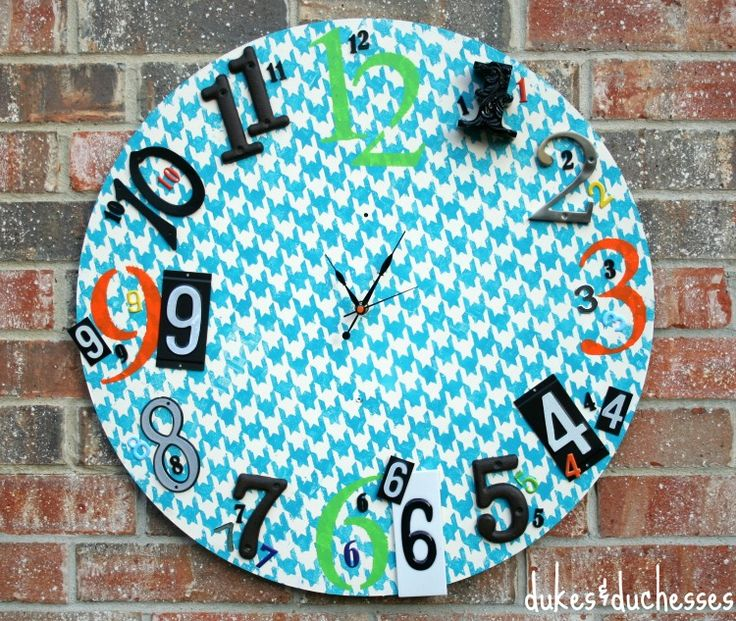 an eclectic painted/stenciled clock