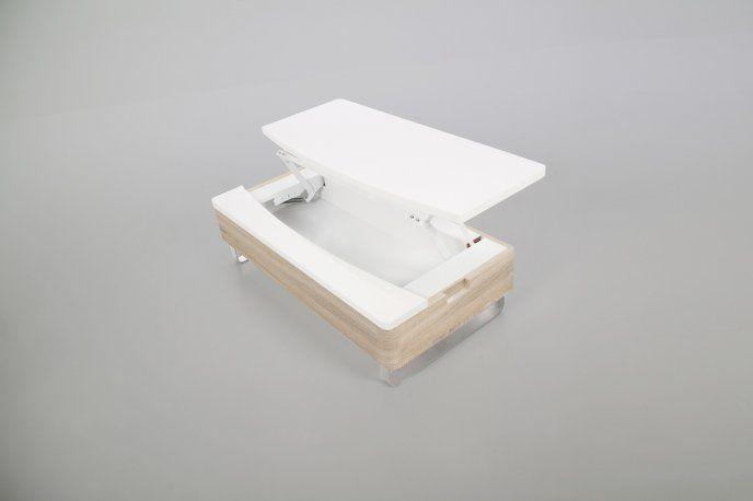 Stolik kawowy biało-dębowy lakierowany na wysoki połysk 0000049302 - Sanit-Express™