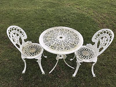 cast aluminium garden table and 2 chairs garden furniture shabby chic