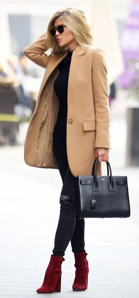 trendy fall outfit idea: coat + bag + top + rips + red boots