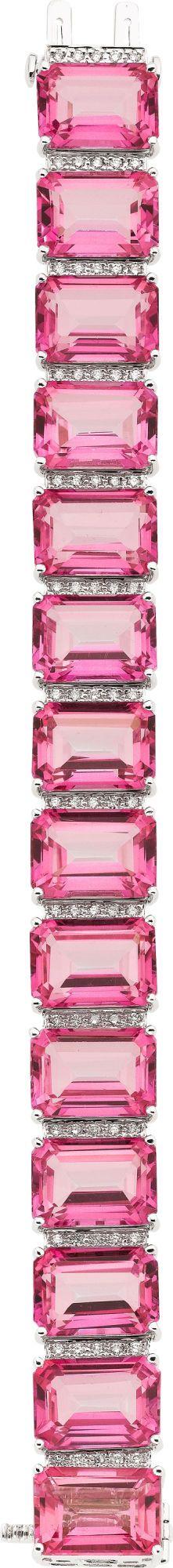 Pink Topaz, Diamond, White Gold Bracelet. ... Estate   Lot #58273   Heritage Auctions