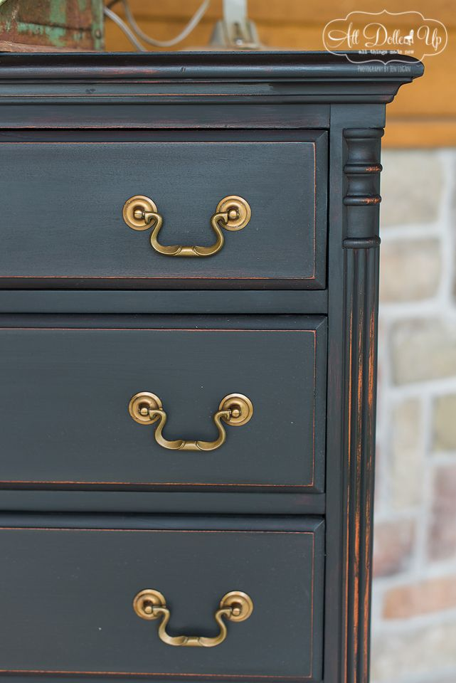 Antiquing wax and White wax on Black. Gorgeous finish. Great tutorial from All Dolled Up.