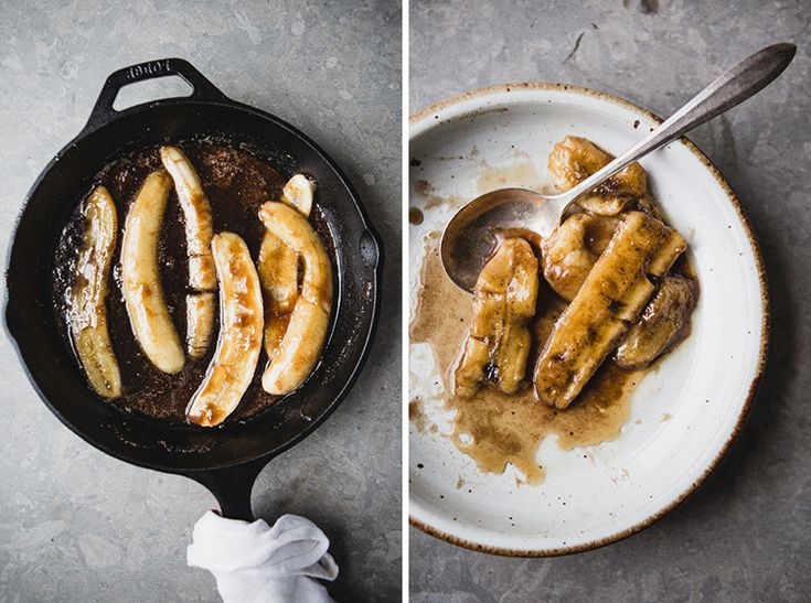 Banana Pancakes With Caramelized Bananas & Pecans