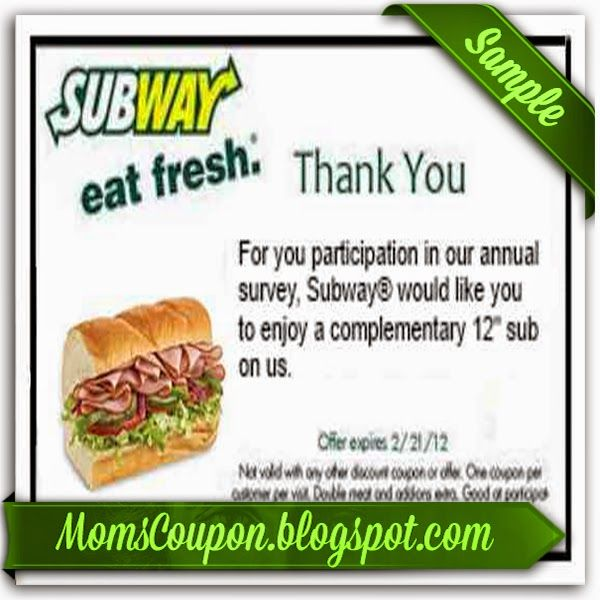 free printable Subway Coupons February 2015