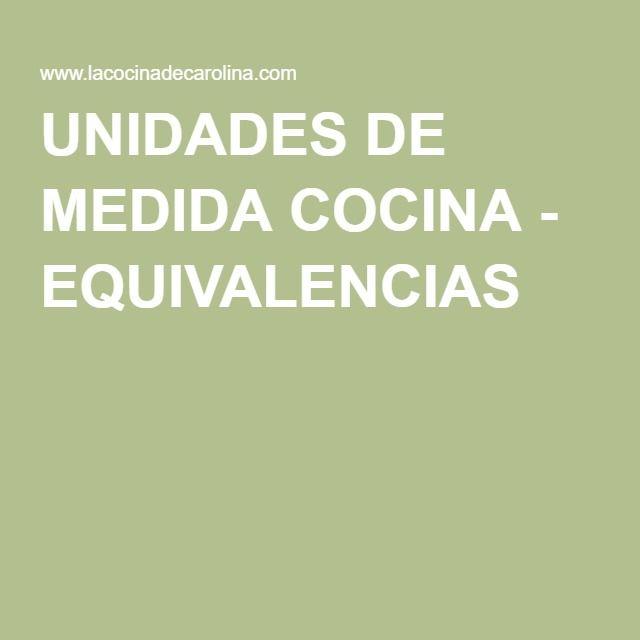 UNIDADES DE MEDIDA COCINA - EQUIVALENCIAS