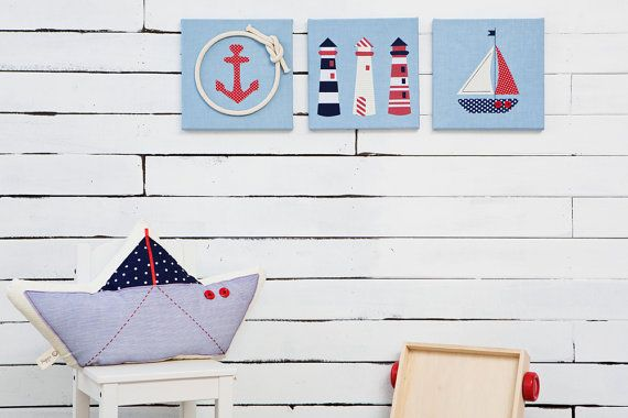 Kids and babies nautical nursery and room decor  Sailbpat pillow and sea inspierd wall art by Nuppi