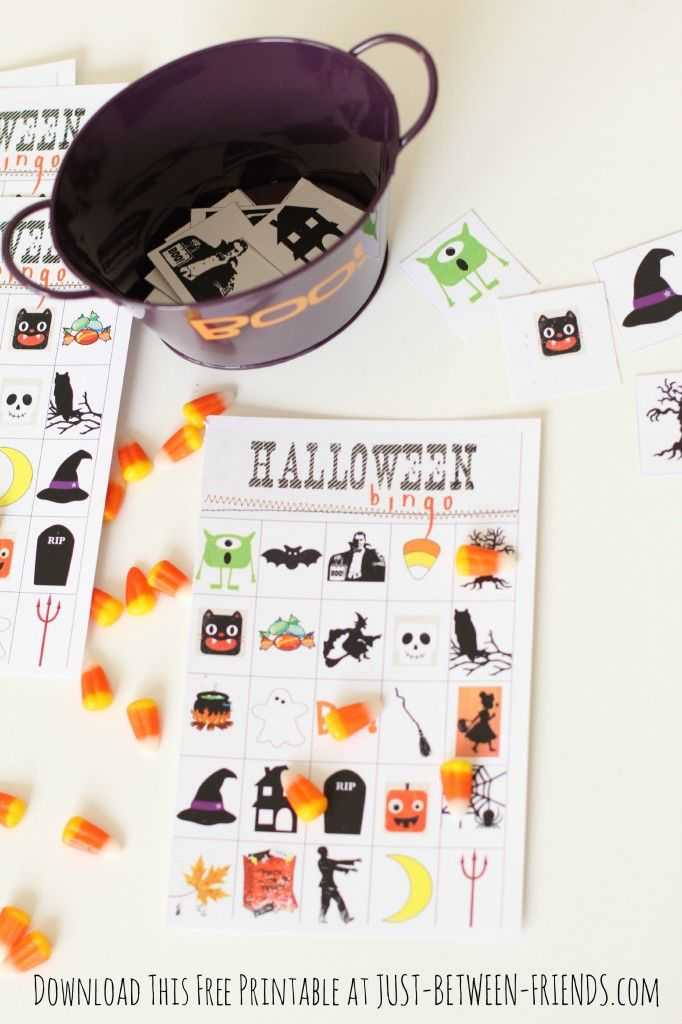 Halloween Bingo 6 How cute...love this idea.  Laminate the card and give a set of them to a teacher for the kids to play and supply the candy or whatever, Halloween erasers, buttons or popcorn.