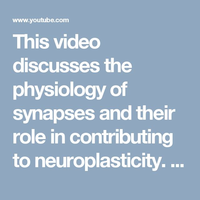 This video discusses the physiology of synapses and their role in contributing to neuroplasticity. https://www.youtube.com/watch?v=J8wW1t1JqUc