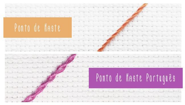 Passo a Passo de dois pontos de bordado usados principalmente para contornos. Aprenda a fazer o Ponto de Haste e o Ponto de Haste Português.