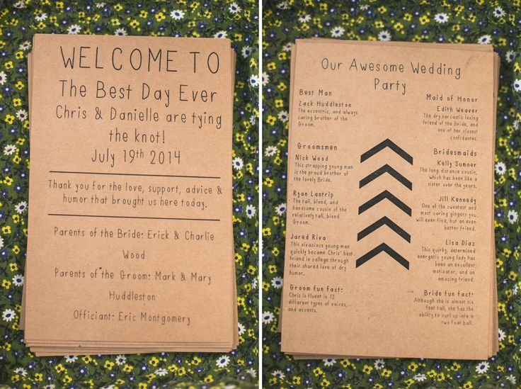 Personal And Funny Wedding Programs