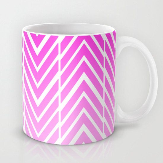 Pink Coffee Mug - Pink and White Arrow Art Mug - 11 oz Mug - 15 oz Mug - Original Art - Ceramic Coffee Cup - Made to Order (30.00 USD) by ShelleysCrochetOle