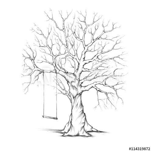 gezeichneter baum mit schaukel  bäume zeichnen schaukel