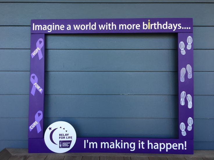 RELAY FOR LIFE PHOTOBOOTH - WOOD PHOTO FRAME PROP - CANCER AWARENESS PHOTO BOOTH FRAME - PALLET WOOD FRAME
