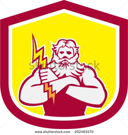 Illustration of Zeus Greek arms cross holding thunderbolt set inside shield crest on isolated background done in retro style.  - stock vector #Zeus #retro #illustration