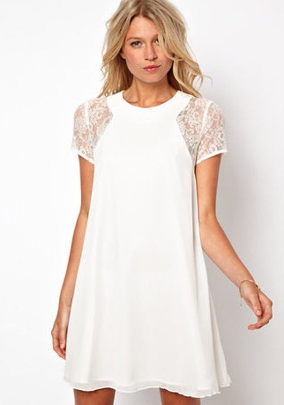 White Patchwork Lace Short Sleeve Polyester Dress