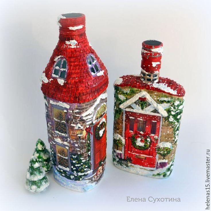Купить Рождественские домики, бутылки-светильники, 3D объемный декупаж - ярко-красный, дом, домик