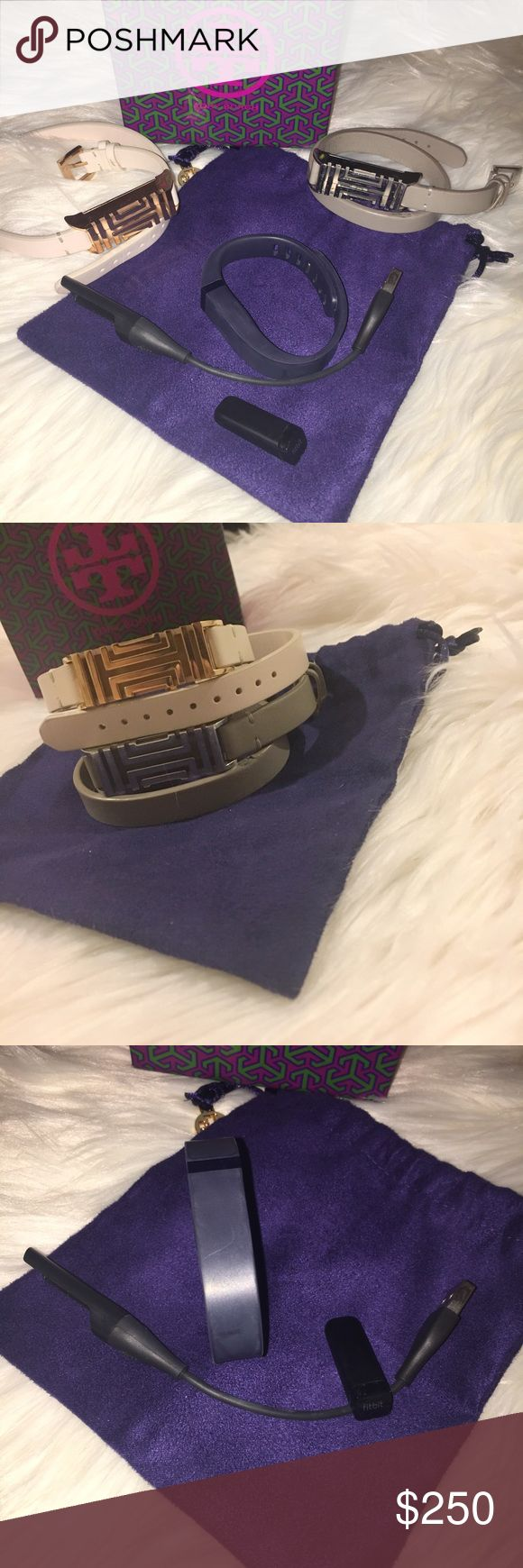 Tory Burch FitBit Bundle Bundle of 2 Tory Burch Fitbit's, Fitbit, Fitbit sports band, and Fitbit charger.   Rose gold & lightoak band: brand new never worn. NWOT. Retail; $195  Silver & French gray band: worn everyday for about 3 months. Used. See photos. Retail; $195  Navy Blue Fitbit sports band: worn maybe 5 times, if that. FitBit Flex: worn for little over a year off an on. Retail; $100+tax.  FitBit charging cord included!  Willing to separate pieces. Plz LMK if you have any questions…