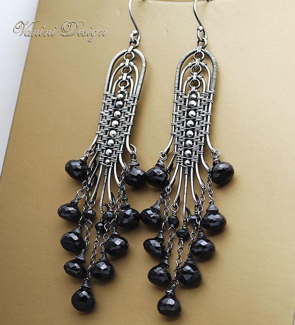 Black Bells - Fine/sterling silver and black spinel chandelier earrings, via Flickr.