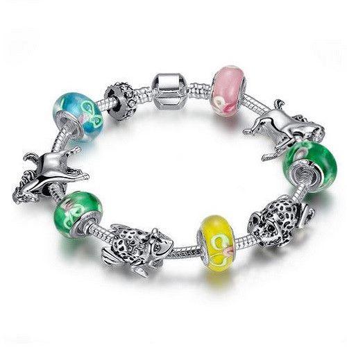 Colorful Horse & Frog Charm Bracelet