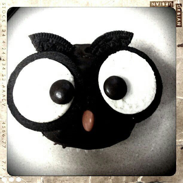 Owl cupcakes! Made with Oreos and Reeses Pieces. So cute!