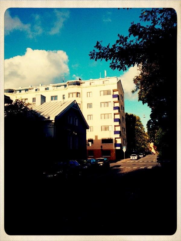 Mestarinkatu towards Martinkatu. Block house from 1952 in the background.